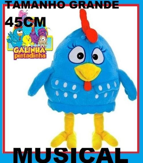 Pelucia Galinha Pintadinha Grande 45cm Brinquedo Musical Põ!