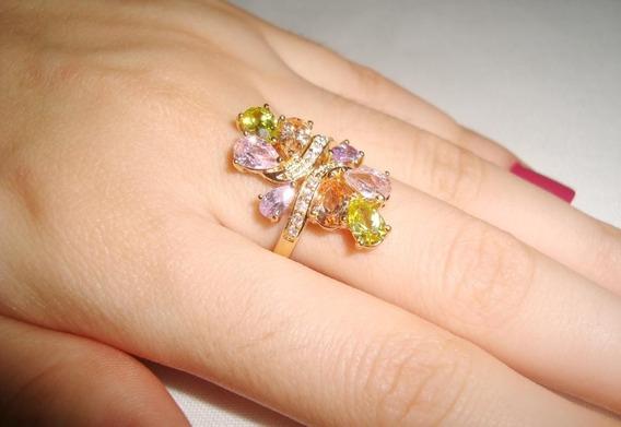 Semi Joia - Anel Banhado A Ouro Cristal Colorido - Aro 17