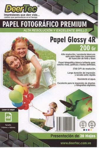 Papel Fotografico Postal 4x6 Glossy 20 Hojas 10x15cm 4r Sgi