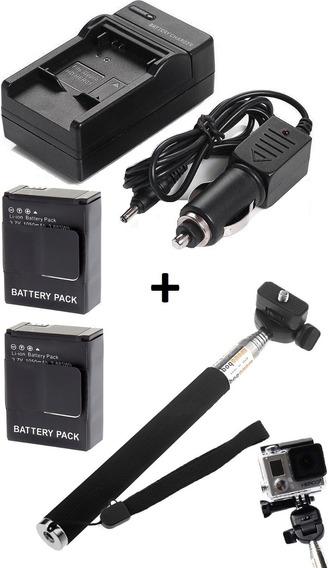2 Baterias + 1 Carregador + Bastão Retrátil TriPod P/ Gopro