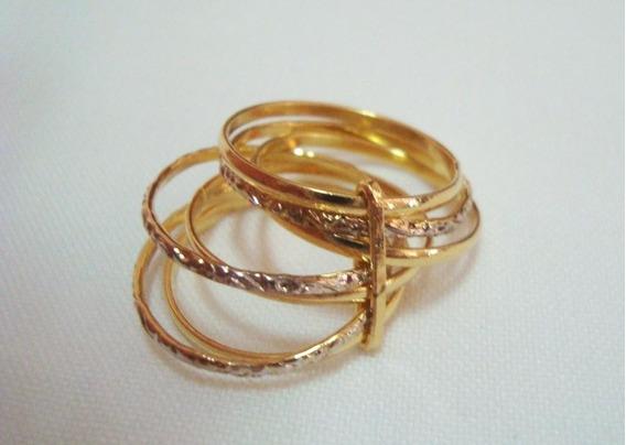 Semi Joia - Anel Banhado A Ouro E Ródio - Aro 21