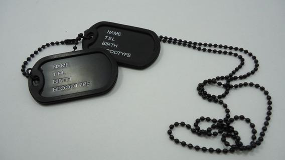 A-cordão Com 2 Plaquinhas Identificação Estilo Militar Black