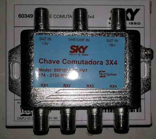 Kit Com 1 Lnb Duplo Faixa Larga E 1 Chave Comutadora 3x4
