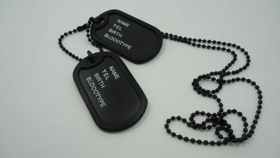 Acessório Masculino Colar Militar Corrente Com Placa Dupla
