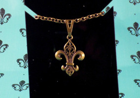 Pulseira Metal Ouro Velho Medalha Flor De Liz