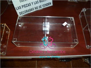 Caja Acrilico 13x26x5 Cm Alto C/tapa Y 2 Divisiones 2pzs