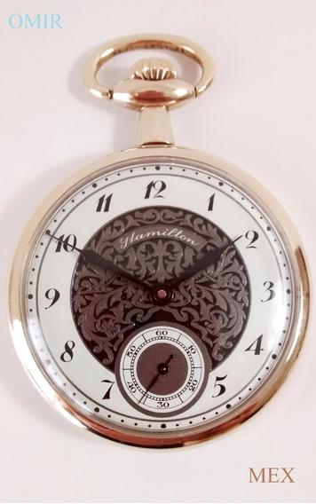 Reloj Hamilton Bolsillo Chapa Oro Cuerda Video