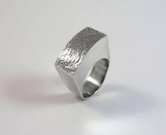 Anel Prata 950 Com Textura, Peça Unica