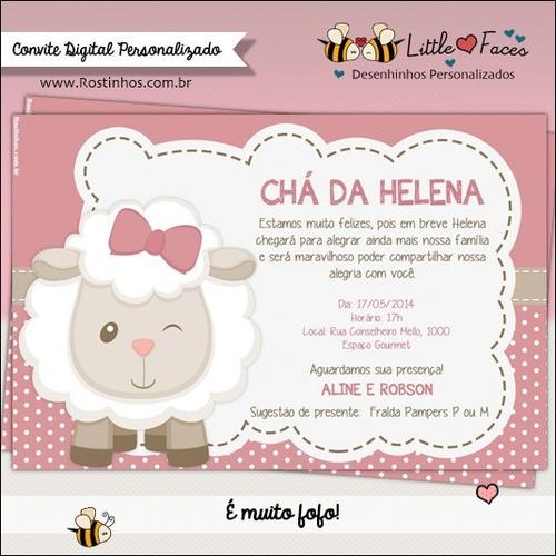 Imagem 1 de 1 de Convite Chá De Bebê Ovelha Digital