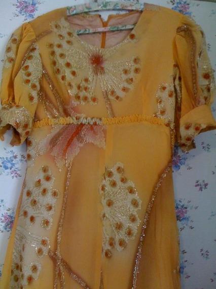 Vestido Dorado Tela Importada De Francia