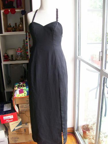 Vestido De Fiesta Largo De Creppe Negro Talle M - Impecable
