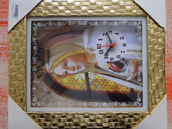 Lindo Quadro Relogio Oração Nossa Senhora De Fatima 20x25cm