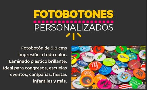 Imagen 1 de 4 de Pack 100 Foto Botones Pines Publicitarios 5.6 Cm Fotobotones