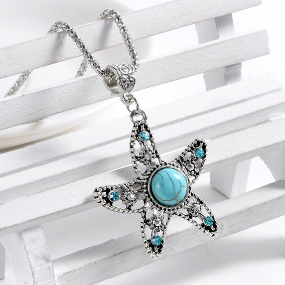 Colar Vintage Pingente Estrela Do Mar Turquesa Tibetano