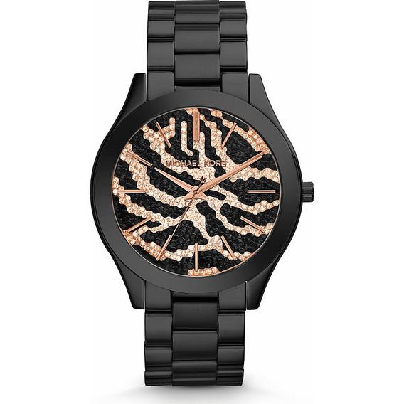 Relógio Michael Kors Mk3316 Slym Runway Orig Anal Black Gold