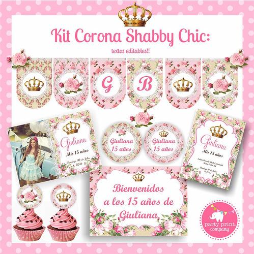 Kit Imprimible Corona Shabby Chic Quinceaños!