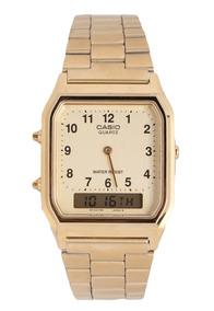 Relógio Casio Aq-230ga-9b Unissex Vintage Retro Gold Nfe
