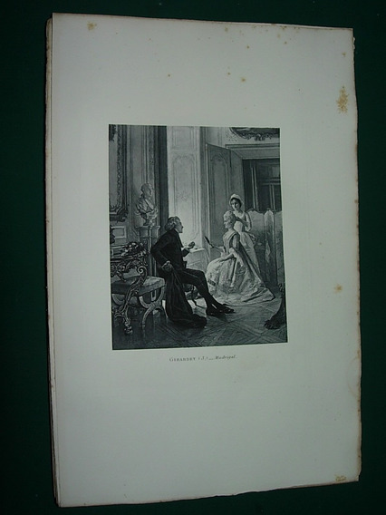 Grabado Antiguo Francia Girardet Madrigal Damas Costumbres