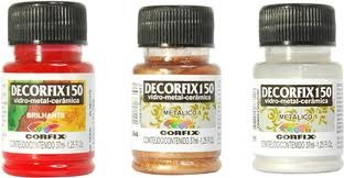 Kit 12 Cores Tinta Ceramica Porcelana Decorfix 150 37ml