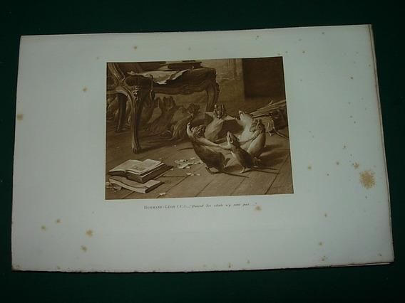 Grabado Antiguo Francia Hermann Leon Cuando El Gato Ratas