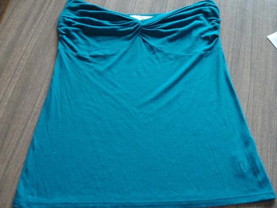 Remera Uma Strapless Azul C/ Caída En La Espalda Talle M -