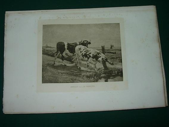 Grabado Antiguo Francia Vacas Barillot La Barriere Campo