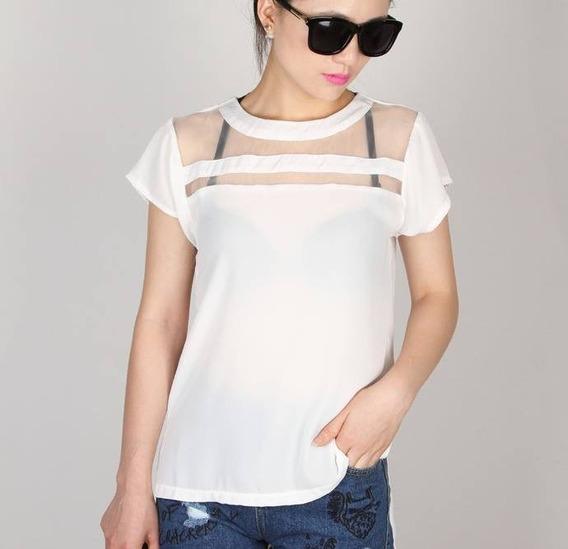 Blusa Branca Manga Curta Com Tule - Pronta Entrega