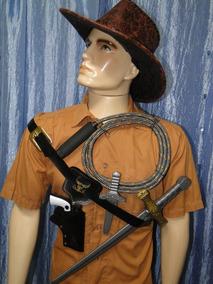 Fantasia Indiana Jones Chapeu Chicote Cinto Arma Coldre