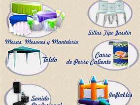Alquiler Silla,mesa,mesón,carro De Perros,sonido E Inflable