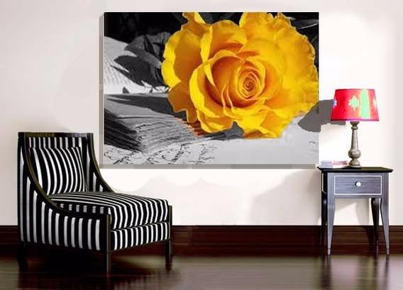 Quadro Decorativo 105x75 Rosa Amarela Cozinha Sala Quarto