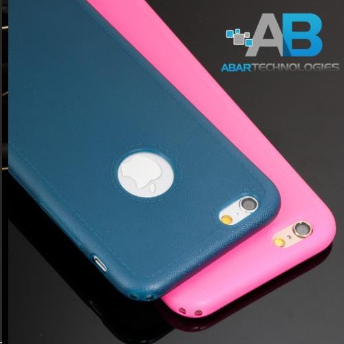 Carcasa iPhone 6 6s Tipo Cuero Logo Calado Matte Colores