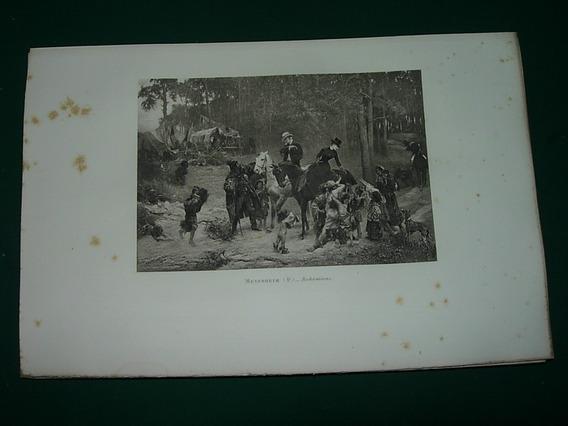 Grabado Antiguo Francia Mayerheim Bohemiens Caballos Niños