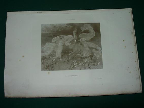 Grabado Antiguo Francia Laurens La Bourrasque Señorita Damas