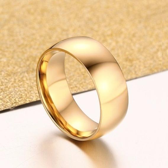 Aliança Casamento Noivado 8mm Banhado Ouro 18k Anatômica