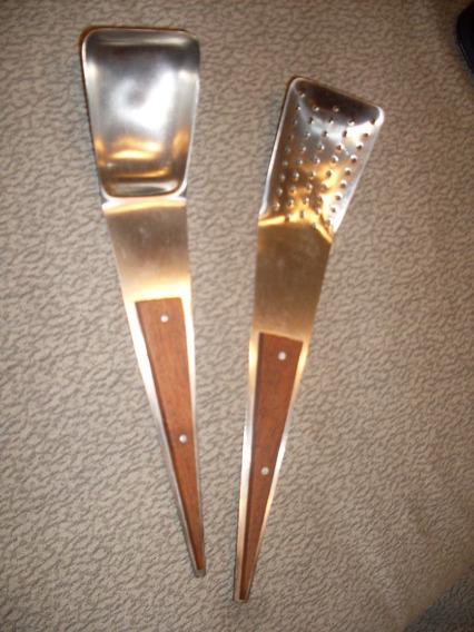 Cucharon Y Espumadera Acero Inox Vintage Impecables Cap Sur