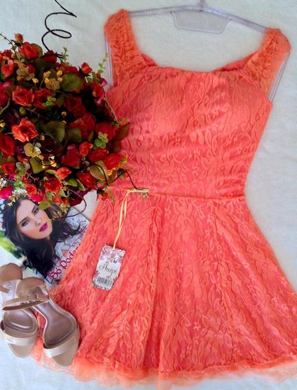 Vestido Coral Renda Tam M