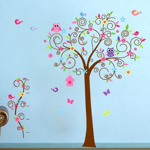 Vinilos Adhesivos Decorativos Arbol Colorido Buhos Jm7250ab