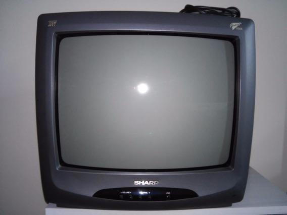 Sh - Tv Sharp 14 Pol. Cores C/ Controle E Funcionando C-1438
