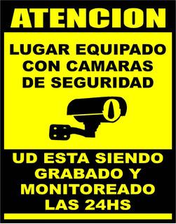 Cartel Aviso De Camaras De Seguridad Alto Impacto 22x28 Cm