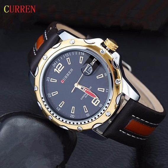 Relogio Masculino Curren Luxo Militar Gold/black Cd1527
