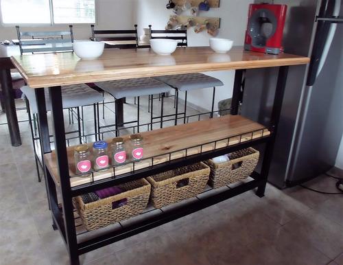 Barra Cocina Desayunador Hierro Con Estantes Mercado Libre