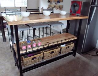 Barra Cocina-desayunador Hierro Con Estantes