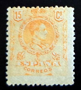 España, Sello Yv. 246 Alfonso Xiii 15c. 1909 Nuevo L7417