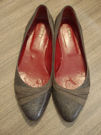 Zapatos Chatitas Uma Cuero Labrado Y Gamuza Gris Nro.37