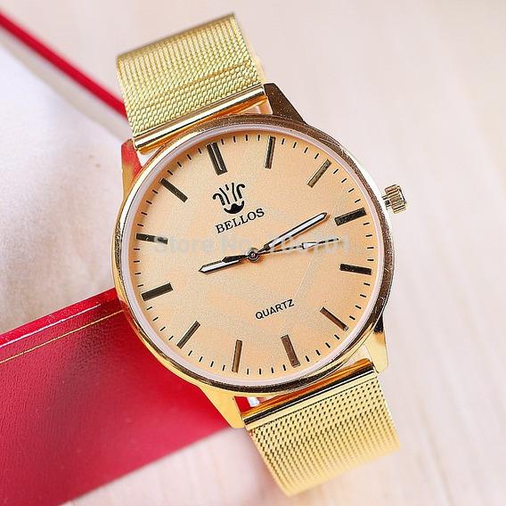 Relógio Bellos Dourado Quartz / F5082-sb-490 Homens/mulheres