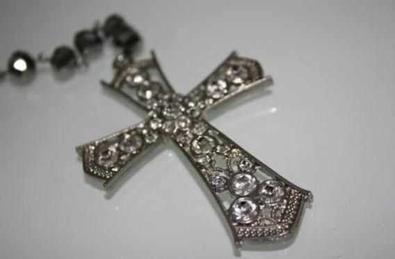 Terço Crucifixo Em Cristal Prateado