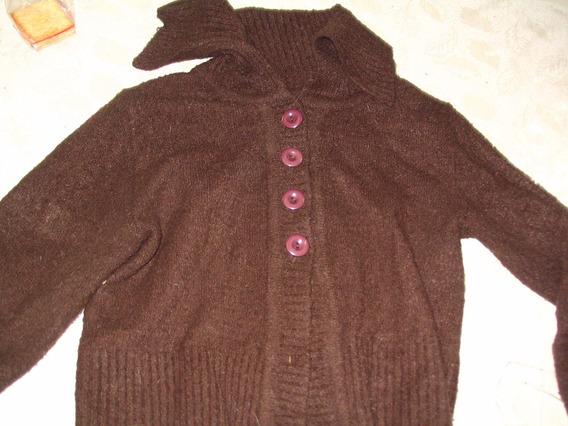 Saco Abierto Saquito Lana Sweater Pullover Marron Abotonado