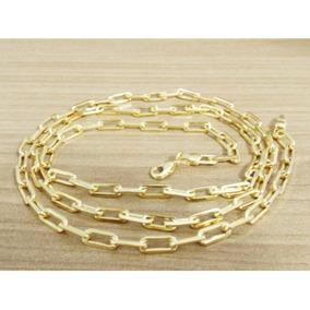 Cordão Masculina Cartier 70cm 4mm Folheada Á Ouro