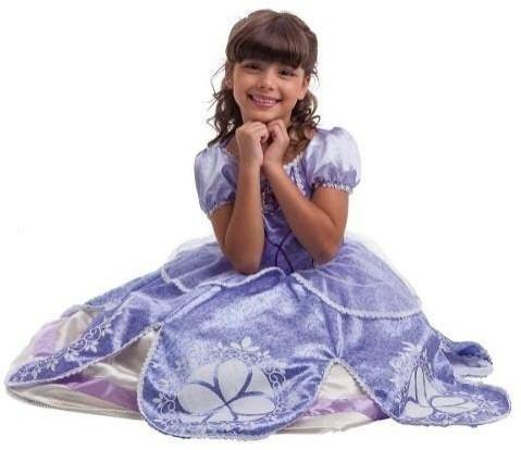 Fantasia Princesa Sofia Vestido Longo Original Disney Luxo