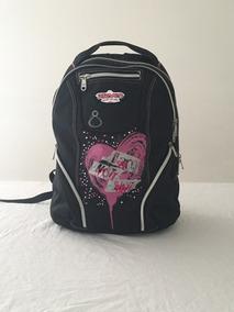Mochila Escolar Preto Com Rosa Pink Marca Seven Original